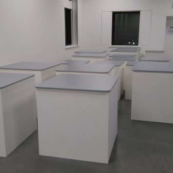 The plinths, painted white with grey tops