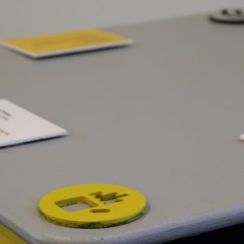 A yellow textured hand icon on a desk