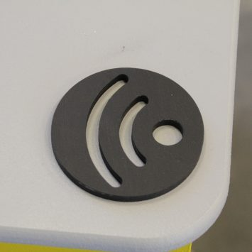 A black textured soundwave icon