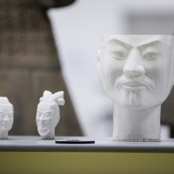Three 3D printed terracotta warrior busts