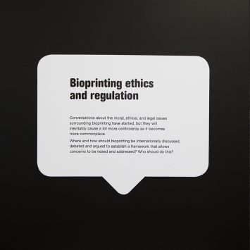 A text bubble describing ethics and regulation in biopriting