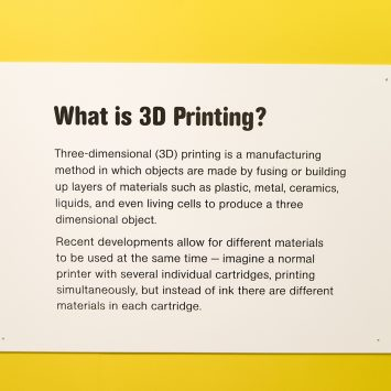 A text box explaining 3D printing